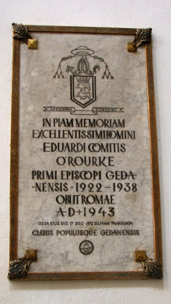Plaque to bishop Edward O'Rourke in Oliwa Cathedral in Gdańsk